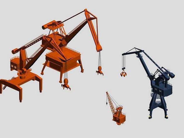 Port handling cranes 3D Model