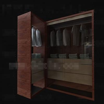 Practical brown wooden wardrobe 3D Model