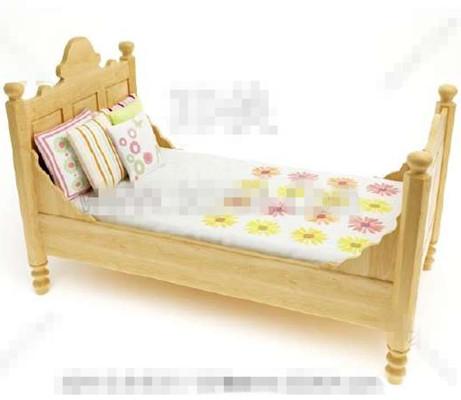 Primary color wooden children bed 3D Model