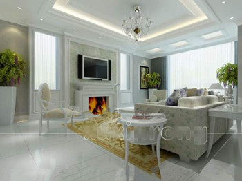 Pure white and elegant living room 3D Model