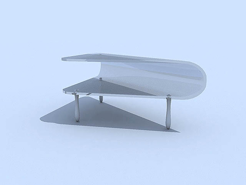 Pure white glass fashionable tea table 3D models