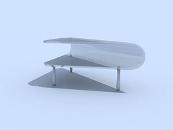 Pure white glass fashionable tea table 3D models