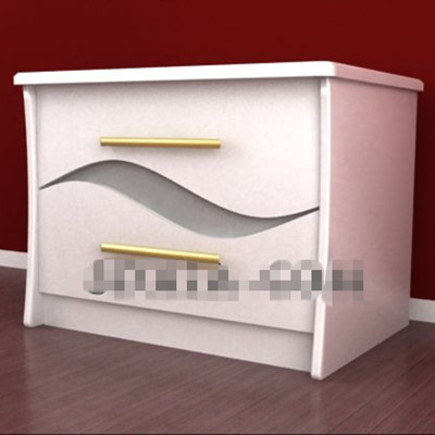 Pure white minimalist bedside table 3D Model