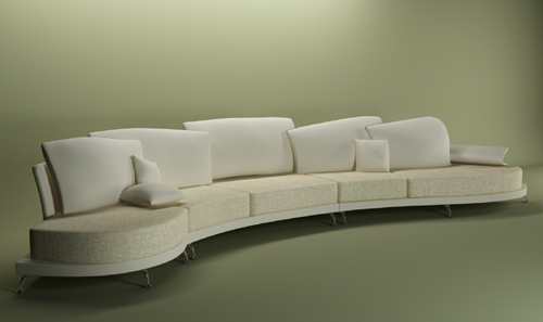 Pure white people public sofa 3D models
