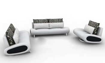 Pure white sofa complete set 3D Model