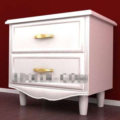 Pure white wooden bedside cabinet 3D Model