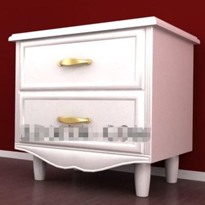 Pure white wooden bedside cabinet 3D Model