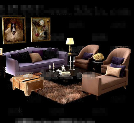 Purple and brown comfortable sofas combination 3D Model