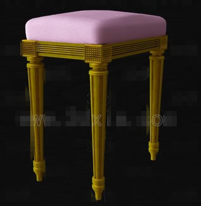 Purple cushion wooden bench chair 3D Model
