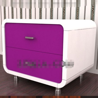 Purple fashion bedside cabinet 3D Model