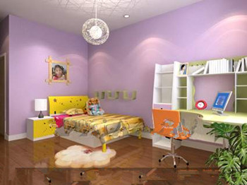 Purple multi-functional children bedroom 3D Model