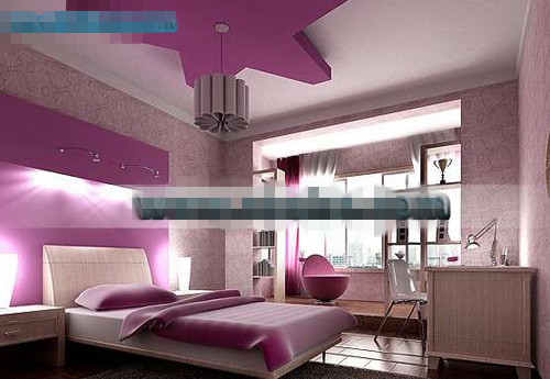 Purple pentacle style bedroom 3D Model