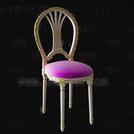 Purple seat white wooden chair 3D Model