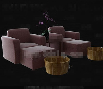 Purple single comfortable sofa combination 3D Model