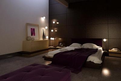 Purple style bedroom 3D model of
