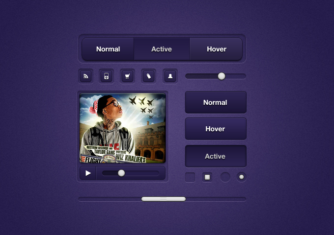 Purple UI Elements PSD
