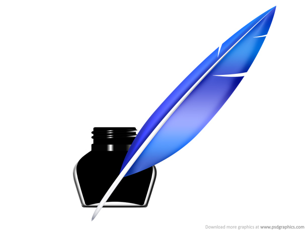 Quill pen and inkwell icon (PSD)