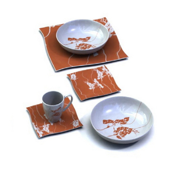 Red and white ceramics tableware 3D Model