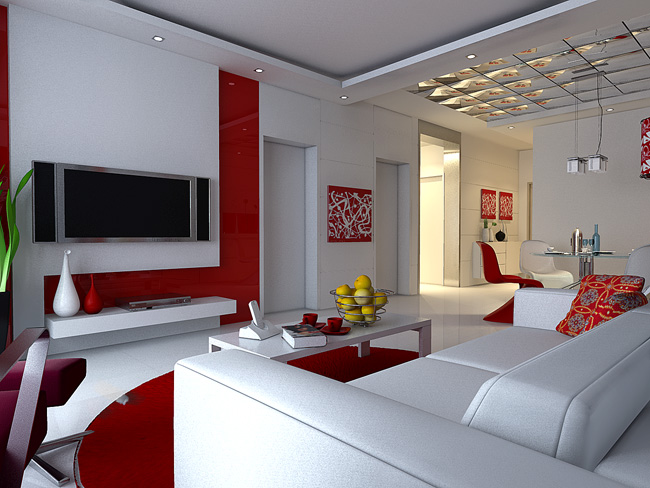 Red and White Simplism Living Room 3D Model