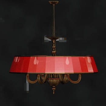 Red beautiful retro metal pendant lamp 3D Model