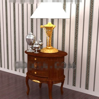 Red-brown oval bedside table 3D Model