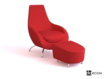Red comfortable combination of chair 3D Model
