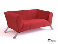 Red comfortable single sofa 3D Model