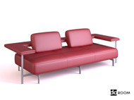 Red cortex personalized sofa 3D Model