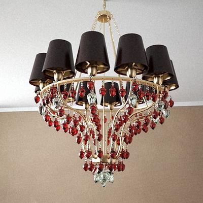 Red crystal chandelier Model 3D Model