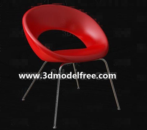Red Fashion Leisure chair 3D Model