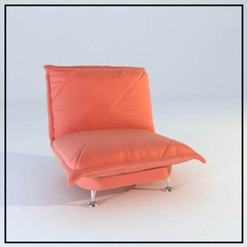 Red leather single sofa 3D Model