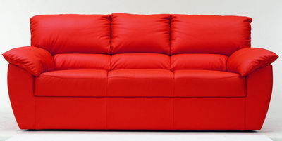Red modern leather fabric sofa 3D Model