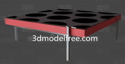 Red sandwich fashion tea table 3D Model