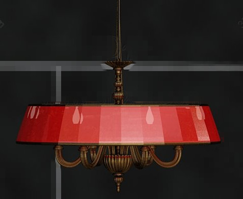 Red shade metal chain pendant lamp 3D Model