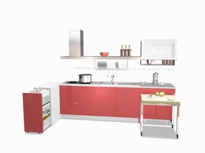 Red Theme Built-in Kitchen 3D Model