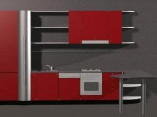 Red Theme Kitchen 3D models