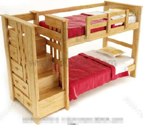 Red timber double Children Bed 3D Model