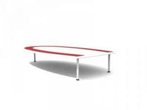 Red U-shaped conference table 3D Model