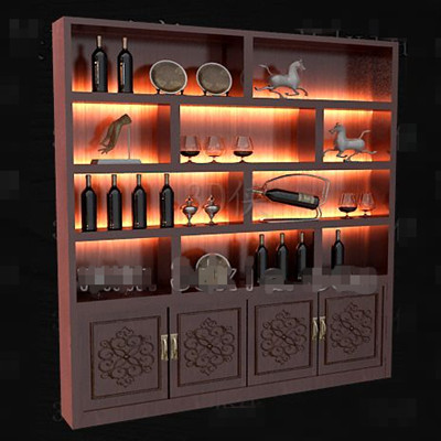 Red wooden Chinese style wine cabinet 3D Model