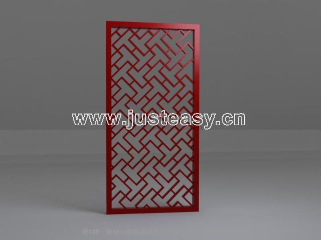 Red Wooden folding screen painted single 3D model (including materials)