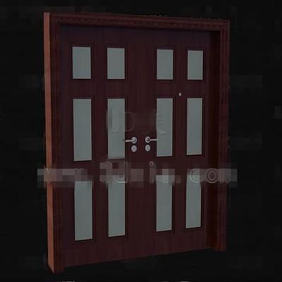 Reddish-brown wood metal handles door 3D Model