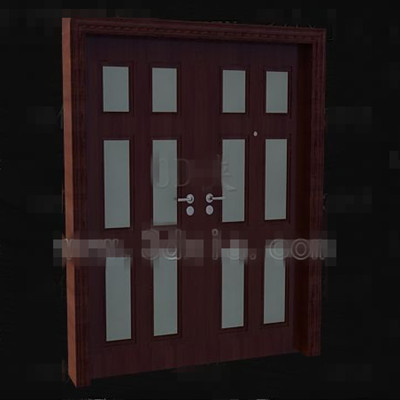Reddish-brown wood metal handles door 3D Model