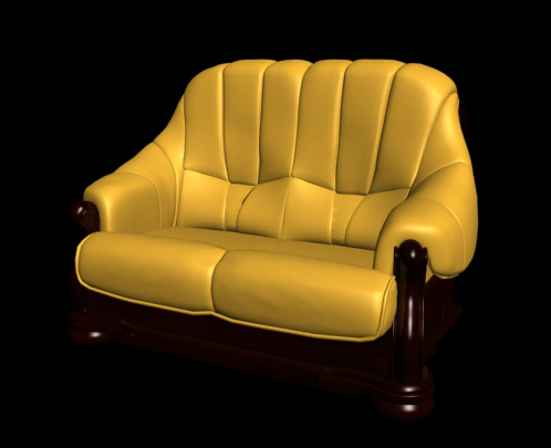 Restore ancient ways classic yellow double leather sofa 3D models