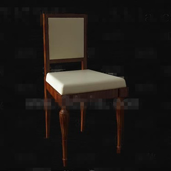 Retro beige seat brown wooden chair 3D Model