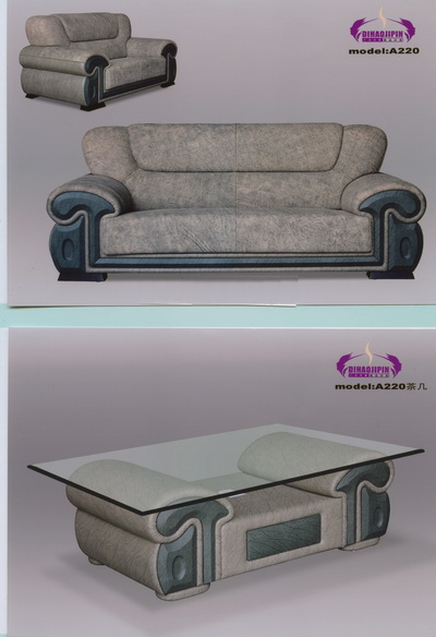 Retro blue gray leather sofa 3D Model