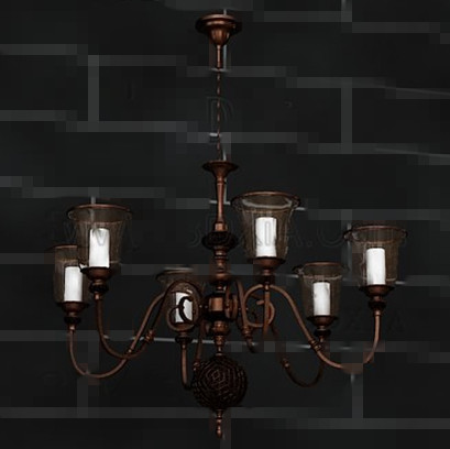 Retro bronze white chandelier 3D Model