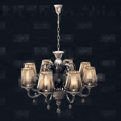 Retro dark yellow metal chain chandelier 3D Model