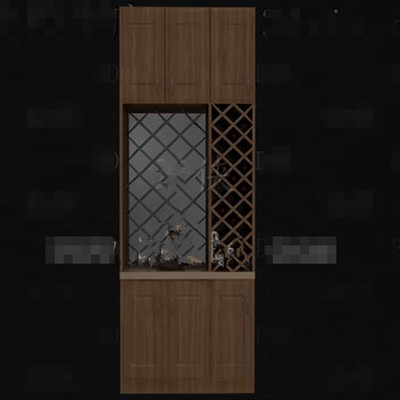 Retro hollow designed wine cabinet 3D Model