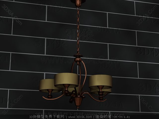 Retro metal chains chandelier 3D Model