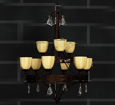 Retro metal frame yellow chandelier 3D Model
